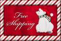 Red Plush Fur and Christmas Bear with Free Shipping Message Royalty Free Stock Photo