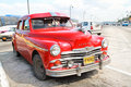 Red Plym Outh oldtimer car, Havana, Cuba Royalty Free Stock Photo