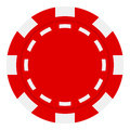 Red Poker Chip Flat Icon Isolated on White