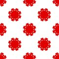 Red Poker Chip Icon Seamless Pattern