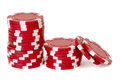 Red poker chips Royalty Free Stock Photo