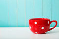 Red polka dot coffee mug Royalty Free Stock Photo