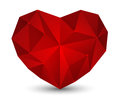 Red polygon heart on white Royalty Free Stock Photography