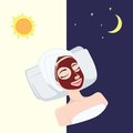 Red Pomegranate, Strawberry Natural Day and Night Mask on Beautiful Woman Face, Illustration Vector Design