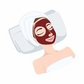Red Pomegranate, Strawberry Natural Mask on Beautiful Woman Face, Illustration Vector Design