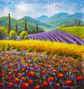 Red poppies painting. Italian summer countryside. French Tuscany. Field of yellow rye. Rural houses and high cypress trees on hill Royalty Free Stock Photo