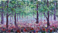 Red poppies in summer forest, oil painting Royalty Free Stock Photo