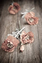 Red poppies on wooden table Royalty Free Stock Photo