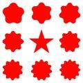 Red Postal stamps and postmarks. Collection different starburst. Set sunburst badges Royalty Free Stock Photo