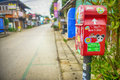 Red postbox mailbox pai walking street thailand pai thai ปาย is a small town in northern thailands mae hong son province Royalty Free Stock Photos
