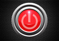 Red power start button on metal gray circle mesh pattern design technology vector. Royalty Free Stock Photo
