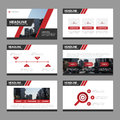 Red presentation templates Infographic elements flat design set for brochure flyer leaflet marketing advertising