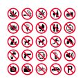 Red prohibition icons set. Prohibition signs. Forbidden sign icons. Royalty Free Stock Photo