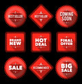Red promotion badges set of nine labels with text on dark background easy to edit eps Royalty Free Stock Images