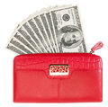 Red purse with dollars isolated on white Royalty Free Stock Photo