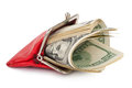 Red purse with the money Royalty Free Stock Photo