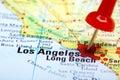Red push pin pointing at Los Angeles Royalty Free Stock Photo
