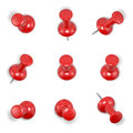 Red push pins on white background computer generated image with clipping path Royalty Free Stock Photos