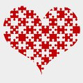Red Puzzle Heart Pieces - JigSaw - Field Chess Royalty Free Stock Photo