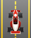 Red racing car on the track cartoon icon for games and applications Royalty Free Stock Image