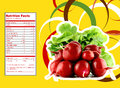 Red radish nutrition facts creative design for with label Stock Photography