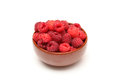 Red raspberries in bowl Royalty Free Stock Photo