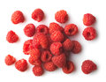 Red raspberries on a white background fresh Stock Photos