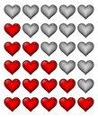 Red rating hearts