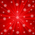 Red rays and snowflakes Royalty Free Stock Photo