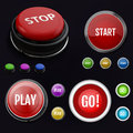 Red realistic button stop. Set colorful button Royalty Free Stock Photo