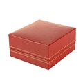 Red rectangular ring box on white background Stock Photo