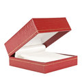Red rectangular ring box on white background Stock Images