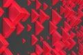 Red rectangular shapes of random size on black background