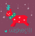 Red reindeer greetings card Royalty Free Stock Image
