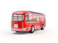 Red retro bus back of on a white background Stock Photo