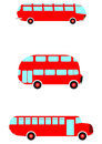 Red retro bus cartoon set on a white background Royalty Free Stock Images