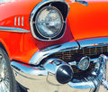 Red retro car closeup of headlight Stock Images