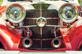 Red retro car front view of Royalty Free Stock Image