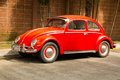 Red retro car volkswagen beetle Royalty Free Stock Photo