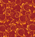 Red retro flower seamless pattern Stock Photo