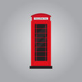 Red retro phone booth flat design vector illustration Royalty Free Stock Photo