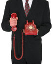 Red Retro Phone Business Isolated Royalty Free Stock Photo