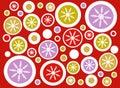 Red Retro Snowflake Circles Background