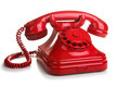 Red retro telephone on white background Royalty Free Stock Photo