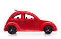 Red retro wooden toy car isolated on white background Royalty Free Stock Photo