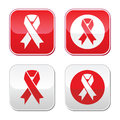 Red ribbon aids hiv heart disease stroke awereness sign ribbons set on or grey square buttons isolated on white Royalty Free Stock Image