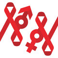 Red ribbon AIDS, HIV and male female sign icon flat color design