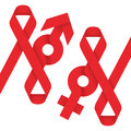 Red ribbon AIDS, HIV and male female sign icon illustration