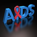 Red ribbon aids symbol of a commitment to the fight against hiv clipping path included Stock Photography