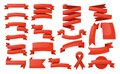 Red ribbon banner set. Isolated blank label banner Royalty Free Stock Photo